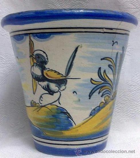 PEQUEÑO MACETERO EN CERÁMICA DE TALAVERA. MARCAS DE NIVEIRO. (Antigüedades - Porcelanas y Cerámicas - Talavera)