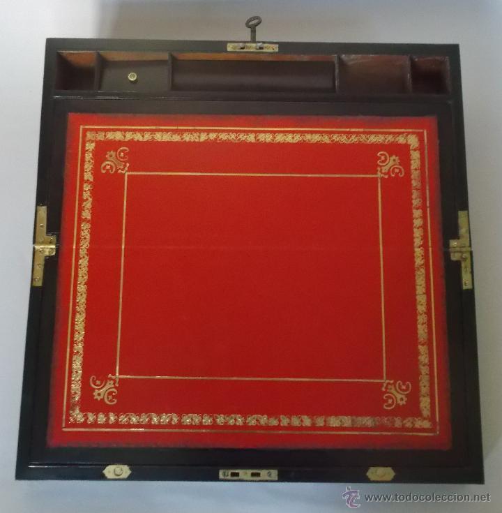 Antigüedades: Escritorio portatil inglés S.XIX de Palorosa y Latón - Foto 3 - 53181850
