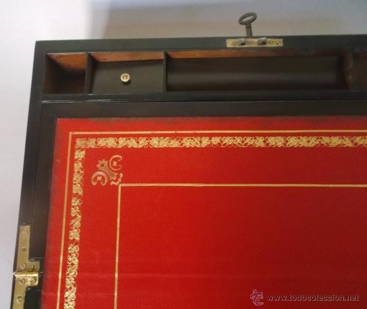 Antigüedades: Escritorio portatil inglés S.XIX de Palorosa y Latón - Foto 4 - 53181850