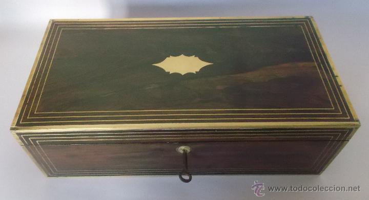 Antigüedades: Escritorio portatil inglés S.XIX de Palorosa y Latón - Foto 12 - 53181850