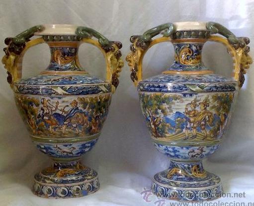 EXCELENTE PAREJA DE GRANDES JARRONES EN CERÁMICA TALAVERANA DE NIVEIRO S. XIX. (Antigüedades - Porcelanas y Cerámicas - Talavera)