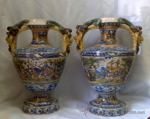 Antigüedades: EXCELENTE PAREJA DE GRANDES JARRONES EN CERÁMICA TALAVERANA DE NIVEIRO S. XIX. - Foto 23 - 28227591