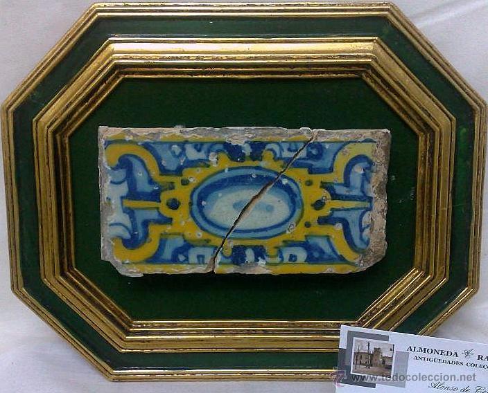 SIGLO XVII-XIX. PEQUEÑO AZULEJO DE ÉPOCA, ENMARCADO. (Antigüedades - Porcelanas y Cerámicas - Talavera)