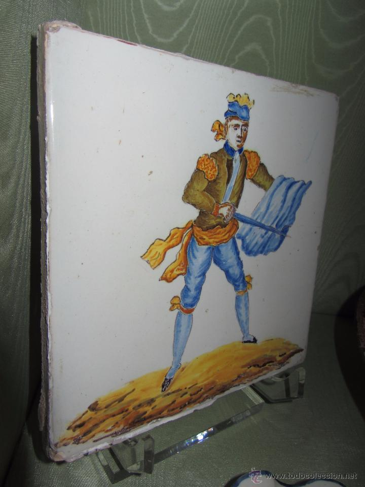 Antigüedades: Espectacular Azulejo Valenciano XIX - Alcora - Foto 2 - 53191957