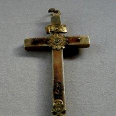 Antigüedades: MUY ANTIGUO CRUCIFIJO DE FRAILE EN BRONCE Y MADERA - FINALES SIGLO XIX. Lote 53202998