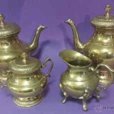 Antigüedades: PRECIOSO JUEGO DE CAFE Y TE EN METAL. Lote 53205901