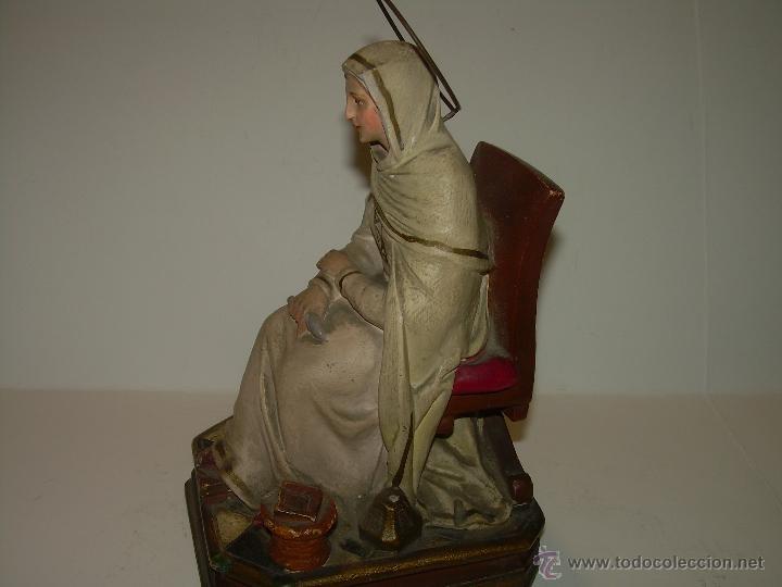 Antigüedades: ANTIGUA IMAGEN RELIGIOSA....CON BASE DE MADERA. - Foto 3 - 53226014
