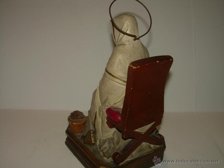 Antigüedades: ANTIGUA IMAGEN RELIGIOSA....CON BASE DE MADERA. - Foto 4 - 53226014
