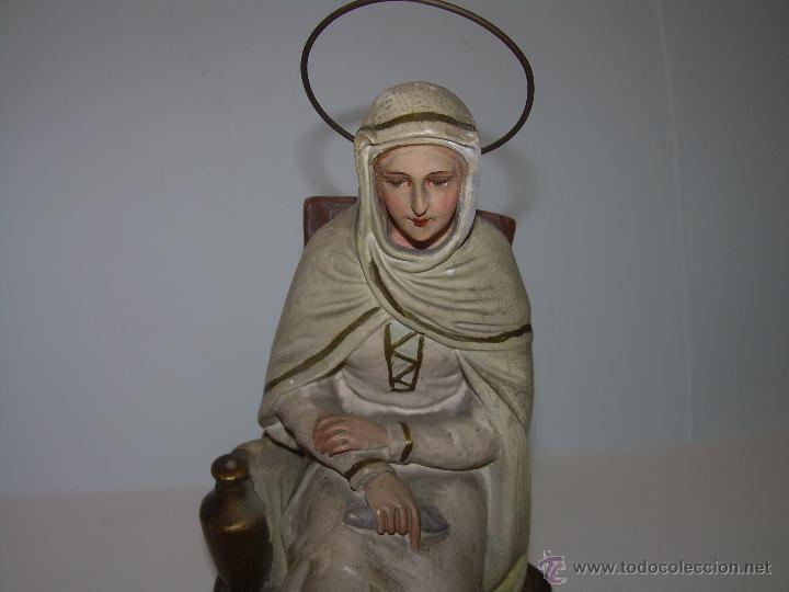 Antigüedades: ANTIGUA IMAGEN RELIGIOSA....CON BASE DE MADERA. - Foto 5 - 53226014