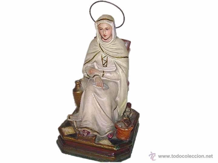 ANTIGUA IMAGEN RELIGIOSA....CON BASE DE MADERA. (Antigüedades - Religiosas - Varios)