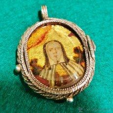 Antigüedades - Relicario antiguo de plata con cristal pintado de Santa Teresa. - 53229799