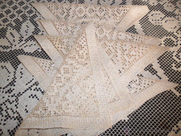 Antigüedades: Manteleria en encaje de red: mantel y servilletas - Foto 2 - 171159732