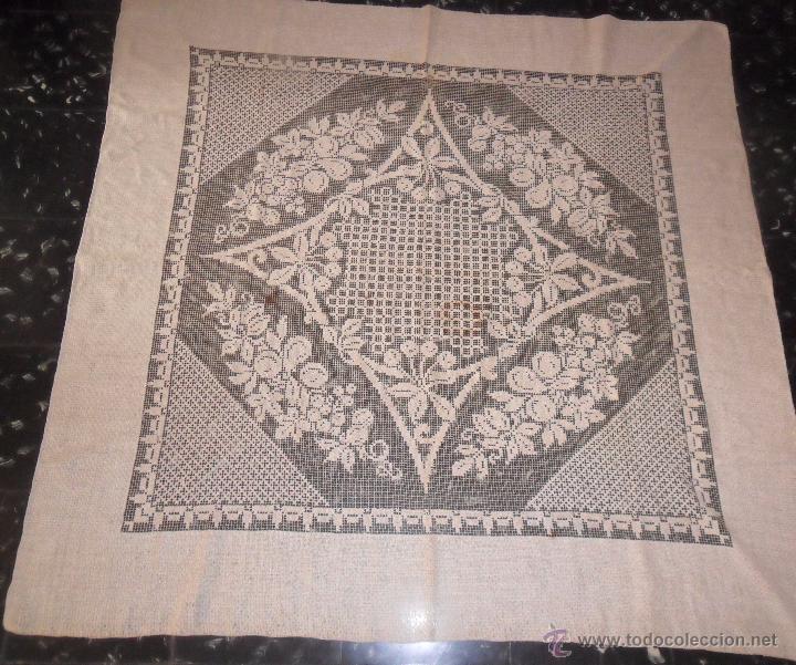 Antigüedades: Manteleria en encaje de red: mantel y servilletas - Foto 3 - 171159732