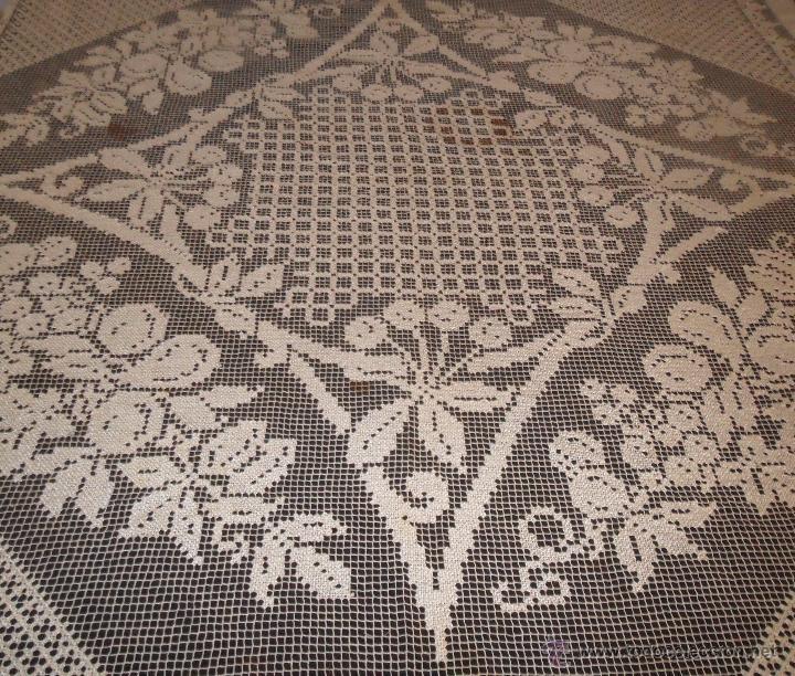 Antigüedades: Manteleria en encaje de red: mantel y servilletas - Foto 6 - 171159732