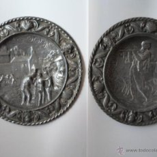 Antigüedades: DOS PLATOS DECORATIVOS DE PARED- ESCENAS MONTAÑESA DE JOSE MARIA PEREDA - AÑOS 40. Lote 53278207