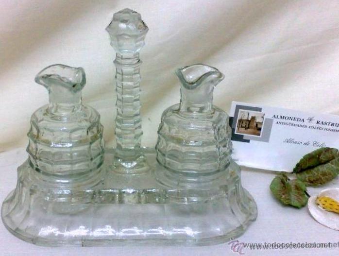 ANTIGUO JUEGO DE VINAJERAS EN CRISTAL. (Antigüedades - Cristal y Vidrio - Otros)
