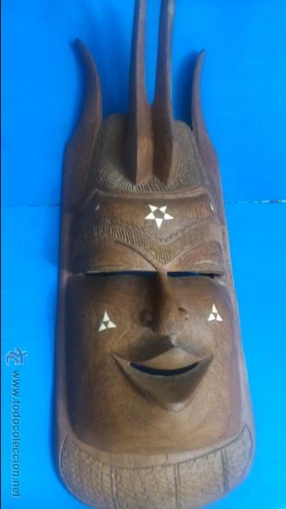 MASCARA AFRICANA TALLADA A MANO (Antigüedades - Hogar y Decoración - Figuras Antiguas)