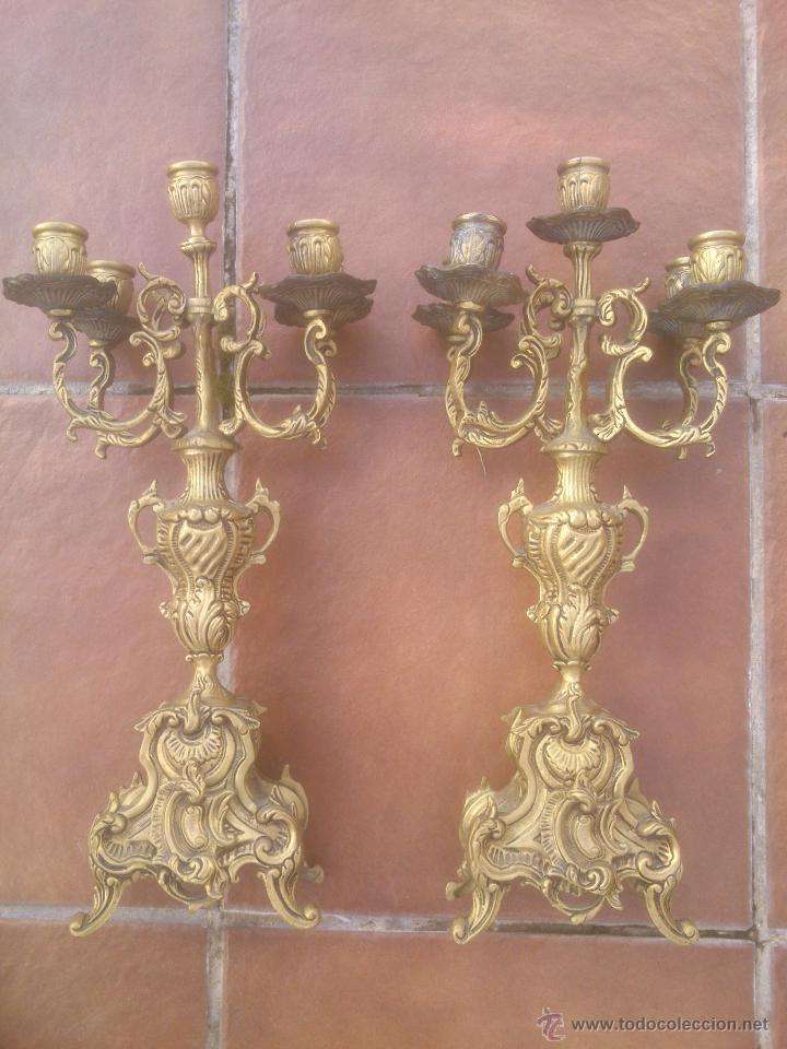 MARAVILLOSA PAREJA DE CANDELABROS ANTIGUOS BRONCE (Antigüedades - Iluminación - Candelabros Antiguos)