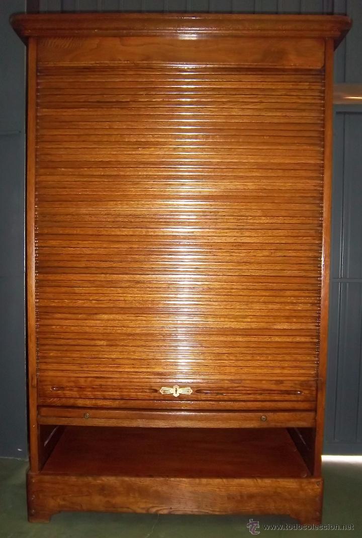 Mueble archivador de persiana en roble estilo comprar for Mueble archivador oficina