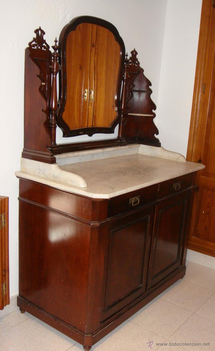 Antigüedades: Bonito Tocador Isabelino. S.XIX. Caoba. Tapa de mármol. - Foto 2 - 53297536