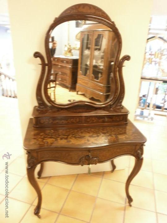 Antigüedades: Curioso tocador antiguo - Holanda - con talla y marquetería - con espejo - diferentes maderas - XIX - Foto 2 - 53331486