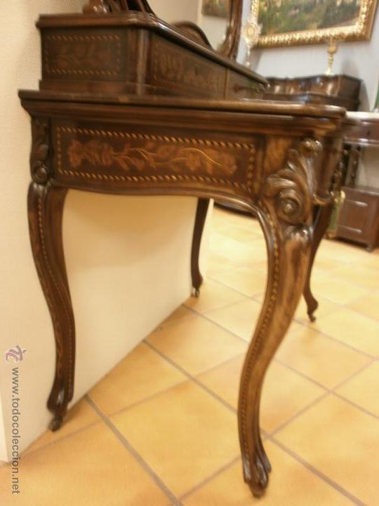 Antigüedades: Curioso tocador antiguo - Holanda - con talla y marquetería - con espejo - diferentes maderas - XIX - Foto 3 - 53331486