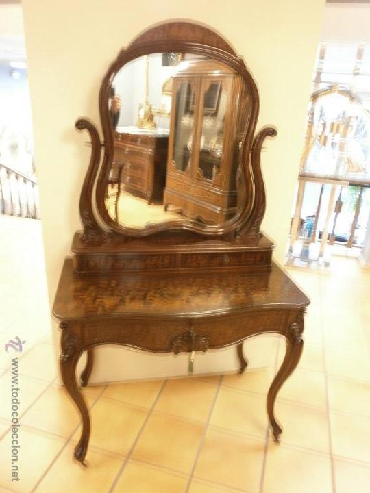 Antigüedades: Curioso tocador antiguo - Holanda - con talla y marquetería - con espejo - diferentes maderas - XIX - Foto 16 - 53331486