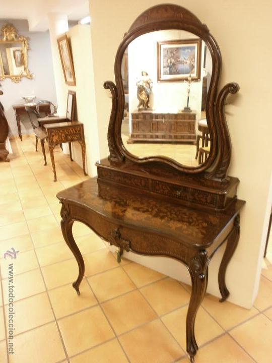Antigüedades: Curioso tocador antiguo - Holanda - con talla y marquetería - con espejo - diferentes maderas - XIX - Foto 17 - 53331486