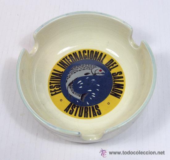 ANTIGUO CENICERO CERAMICA SAN CLAUDIO FESTIVAL INTERNACIONAL DEL SALMON ASTURIAS AÑOS 60 ? (Antigüedades - Porcelanas y Cerámicas - San Claudio)