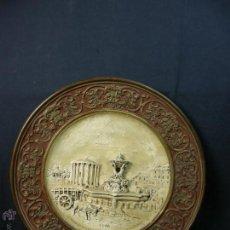 Antigüedades: PLATO DECORATIVO CERAMICA PINTADA ROMA ITALIA CHIESA DI VESTA STA MARIA SOLE VEDUTA MARCAS 5,5X41CMS. Lote 53353844