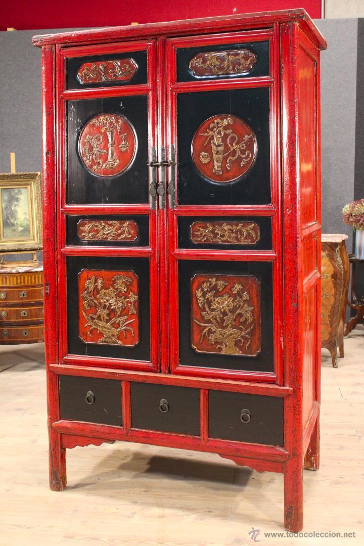 Antigüedades: Armario chino en madera lacada del siglo XX - Foto 2 - 53363269