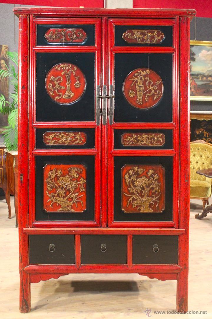 Antigüedades: Armario chino en madera lacada del siglo XX - Foto 3 - 53363269