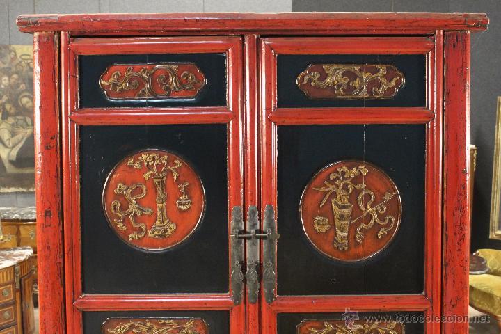 Antigüedades: Armario chino en madera lacada del siglo XX - Foto 9 - 53363269