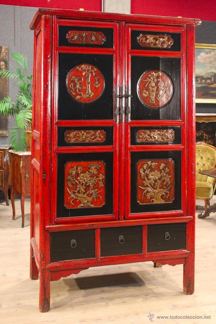 Antigüedades: Armario chino en madera lacada del siglo XX - Foto 20 - 53363269