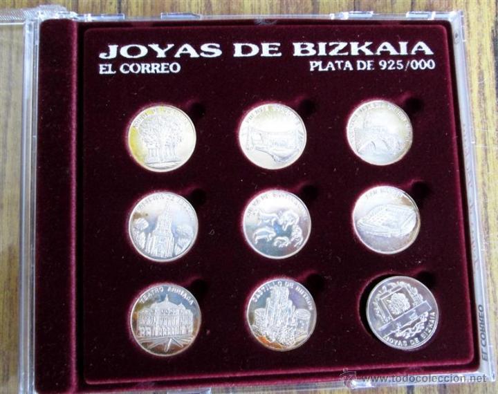 JOYAS DE BIZKAIA COLECCIÓN DE 9 MEDALLAS DE 22 MM PLATA 925/000 (Antigüedades - Platería - Plata de Ley Antigua)