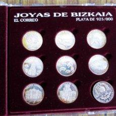 Antigüedades: JOYAS DE BIZKAIA COLECCIÓN DE 9 MEDALLAS DE 22 MM PLATA 925/000 . Lote 53372898