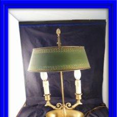 Antigüedades: LAMPARA PANTALLA CANDELABRO INGLESA CON TULIPA METALICA S. XIX. Lote 53374163