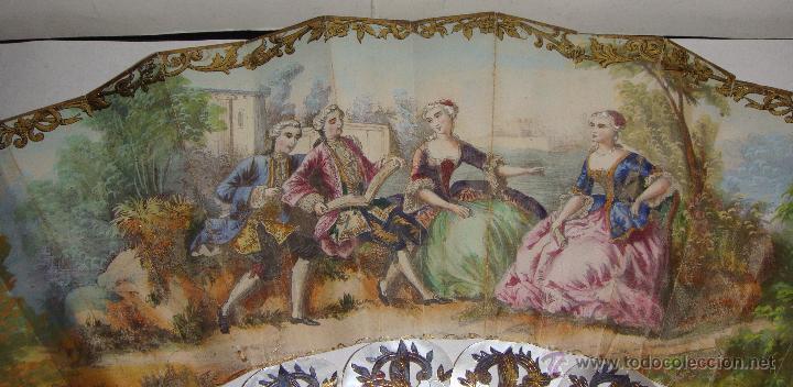 Antigüedades: Antiguo Abanico. S.XIX. Varillaje de Nácar con incrustaciones de Oro y Plata. País pintado a mano. - Foto 7 - 53375077