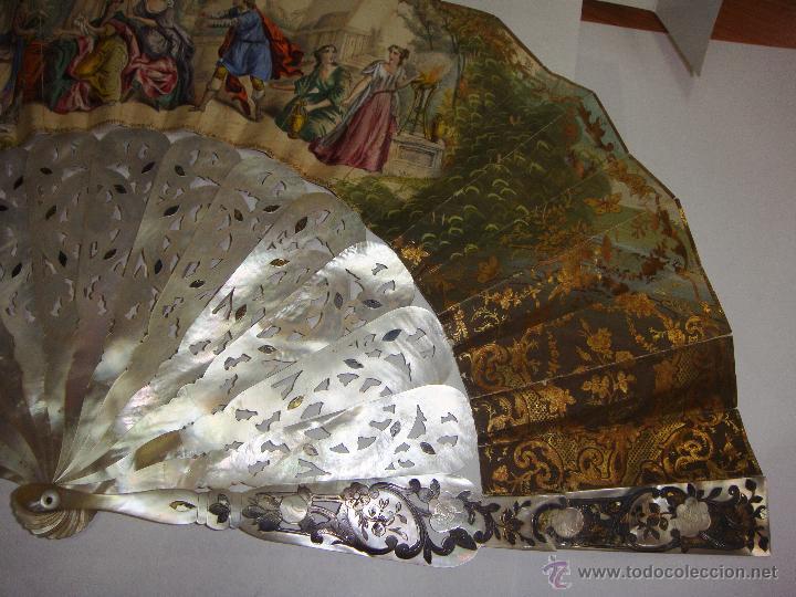 Antigüedades: Antiguo Abanico. S.XIX. Varillaje de Nácar con incrustaciones de Oro y Plata. País pintado a mano. - Foto 9 - 53375077