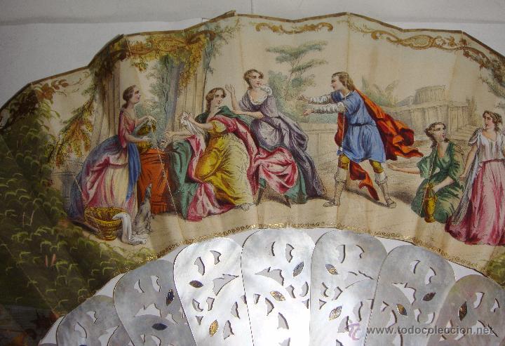 Antigüedades: Antiguo Abanico. S.XIX. Varillaje de Nácar con incrustaciones de Oro y Plata. País pintado a mano. - Foto 10 - 53375077