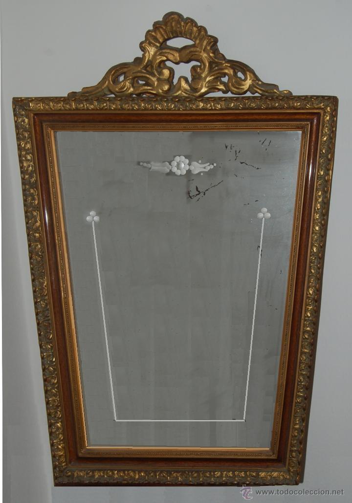 espejo trapezoidal con cristal grabado. marco e - Comprar Espejos ...