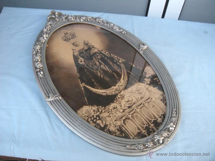 antiguo marco ovalado con copete y virgen de la - Comprar ...