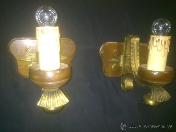 APLIQUE VELERO DE FORJA Y MADERA (Antigüedades - Iluminación - Apliques Antiguos)