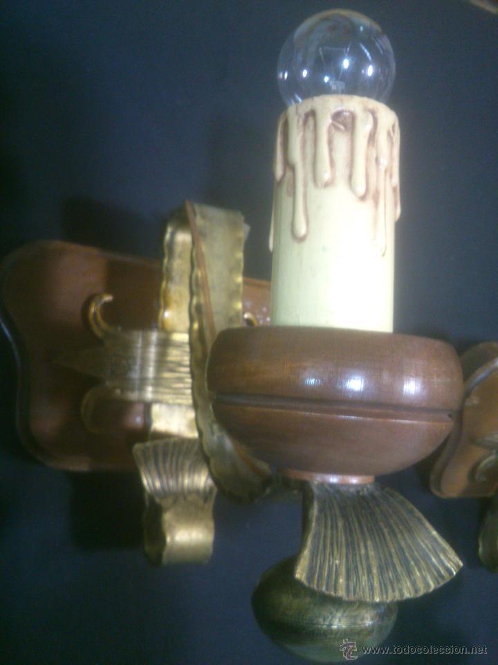 Antigüedades: APLIQUE VELERO DE FORJA Y MADERA - Foto 7 - 53408158