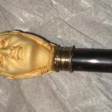 Antigüedades: ANTIGUO BASTON PUÑO DE MARFIL CAÑA DE CAREY. Lote 44209163