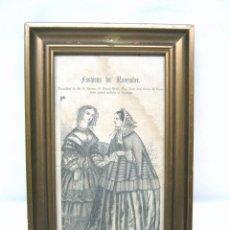 Antigüedades: MODA DE NOVIEMBRE - ILUSTRACION ORIGINAL S.XIX CON MARCO MADERA DORADA VIDRIO. Lote 53421573