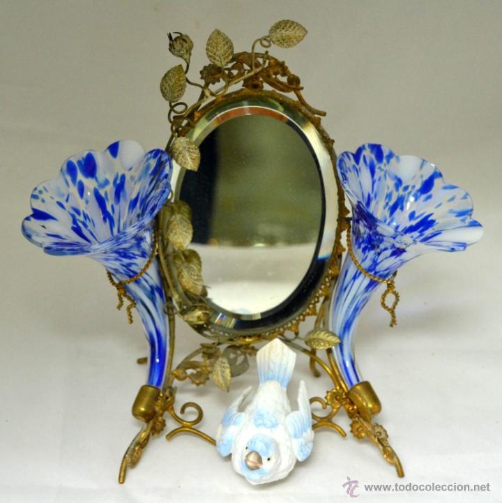 antiguo espejo biselado de tocador con violeter - Comprar Espejos ...