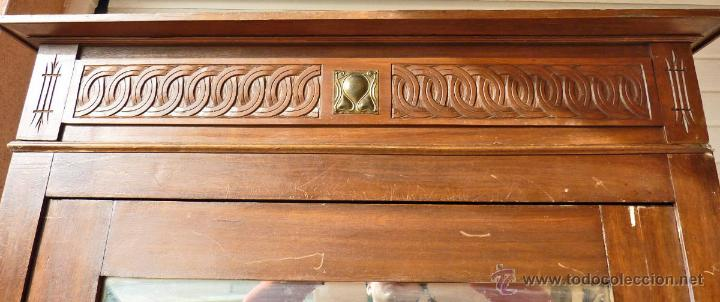 Antigüedades: Armario modernista de 1 puerta con espejo. Madera maciza principos siglo XX - Foto 4 - 53431225