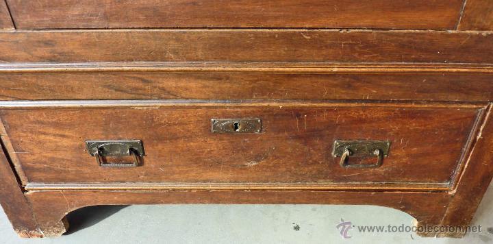 Antigüedades: Armario modernista de 1 puerta con espejo. Madera maciza principos siglo XX - Foto 9 - 53431225