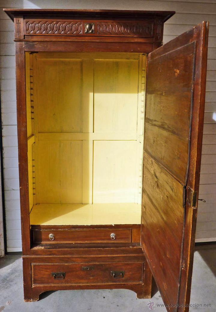 Antigüedades: Armario modernista de 1 puerta con espejo. Madera maciza principos siglo XX - Foto 10 - 53431225